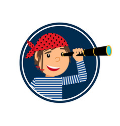 Pirate with spyglass icon in circle vector