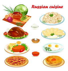 set of russian cuisine with soup dumplings vector image vector image