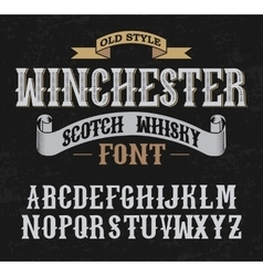 Winchester label font whith decoration design old vector