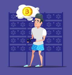 Young cartoon man bitcoin miner in server room vector