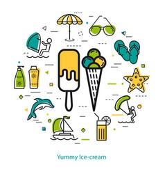 Yummy ice cream - round line concept vector
