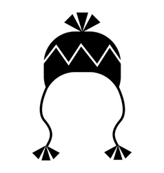 Winter hat with tassels icon simple style vector