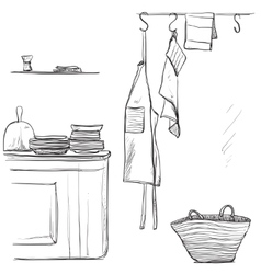 Textiles apron hand drawn kitchen interior vector