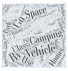 Types of recreational vehicles word cloud concept vector