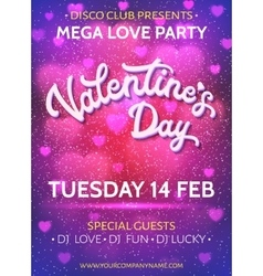 Valentines Day poster template with blurred hearts vector image