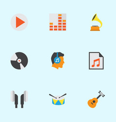 Music flat icons set collection of button vector