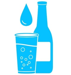 Bottle glass and water drop vector