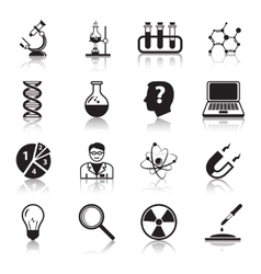 Chemistry or biology science icons set vector