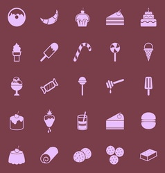 Dessert color icons on dark background vector
