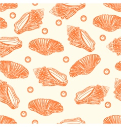 Seamless texture two shells and pearls engraving vector