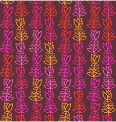 Brown seamless pattern with colorful flowers vector image