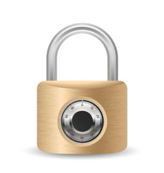 Metallic combination padlock vector