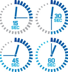 Seconds clocks icons vector
