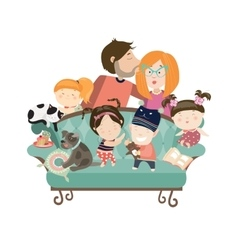 Happy kids with parents and pets vector