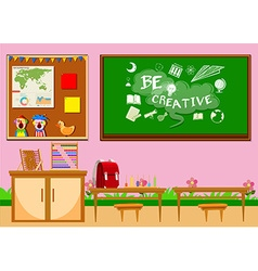 Elementary classroom with board and chairs vector