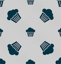 Cake icon sign seamless pattern with geometric vector