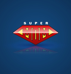 Red super mom shield super hero style vector