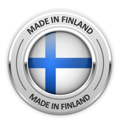 Silver medal made in finland with flag vector