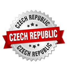 Czech republic round silver badge with red ribbon vector