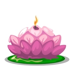 Pink candle in shape of a lotus flower vector