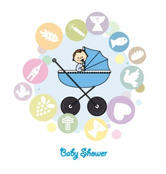 Baby boy baptism invitation card vector