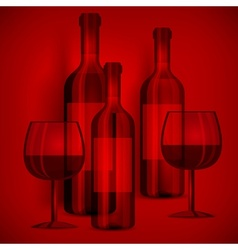 Bottles wine and glasses on vector image