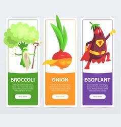 broccoli onion eggplant banners set funny vector image