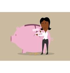 Businesswoman repairing broken piggy bank vector