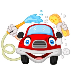 Cartoon car washing with water pipe and sponge vector image