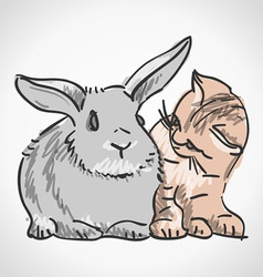 Cat and Rabbit vector image