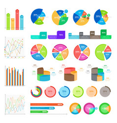 Collection of infographics colourful on white vector