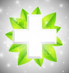 Cross with leaves vector image