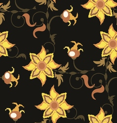Dark brown seamless pattern with yellow flowers vector image