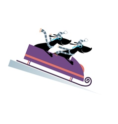 Dog bobsledding vector