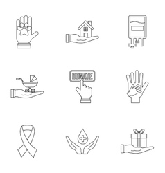 Donation icons set outline style vector