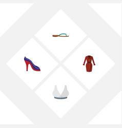 Flat garment set of heeled shoe beach sandal vector