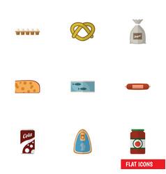 Flat icon food set of eggshell box ketchup tin vector