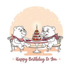 happy birthday card two cute bear eating ca vector image