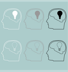 Head with brain and bulb icon head with brain vector