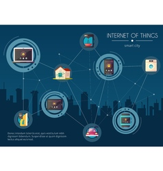 Internet of things kitchen background poster vector