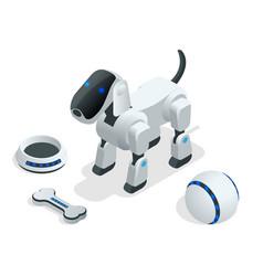 Isometric set of techno robot dog vector