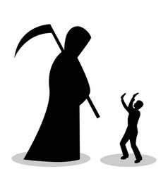 Man is afraid of death vector