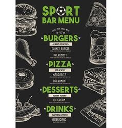 Menu sport bar restaurant food template placemat vector