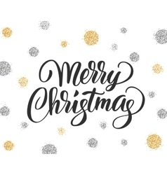 Merry christmas card with hand drawn lettering and vector image vector image