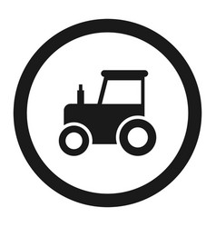 no tractor prohibition sign line icon vector image vector image