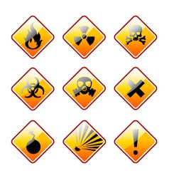 Orange warning signs vector