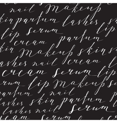 Pattern with handwritten words about beauty vector image