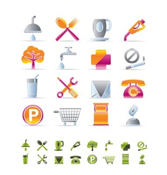 realistic petrol station and travel icons vector image