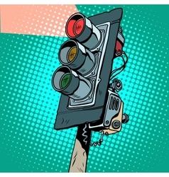 Red traffic light vector