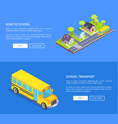 road to school through cottage town and yellow bus vector image vector image